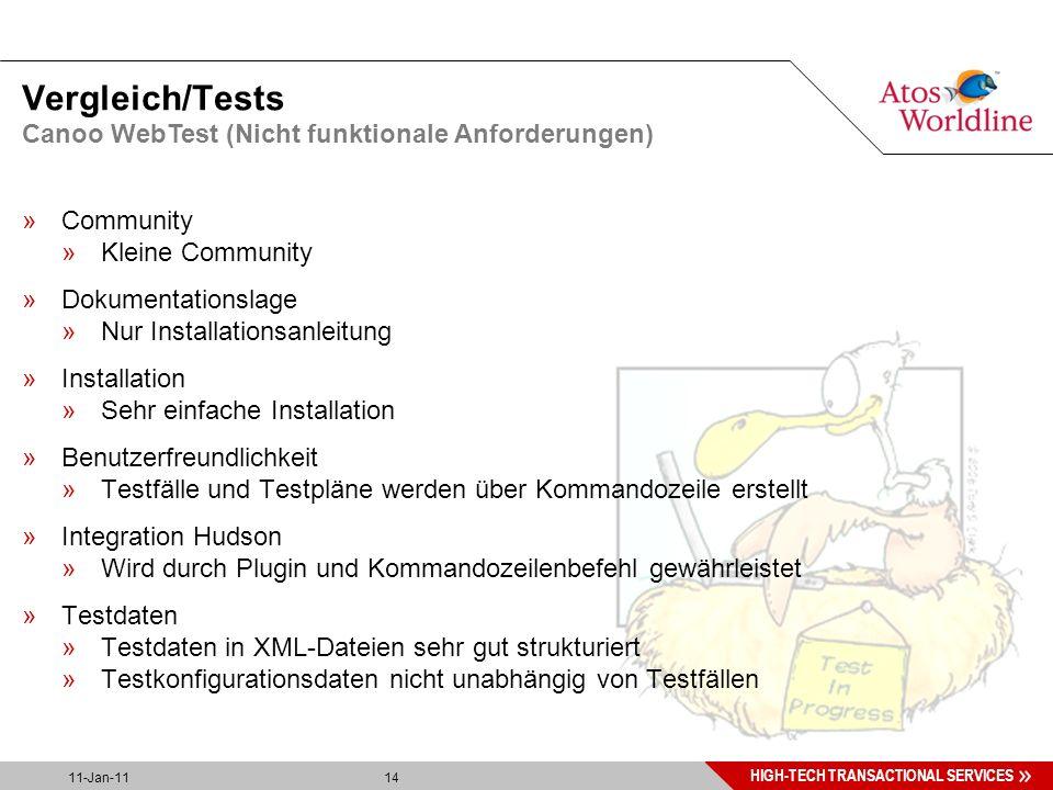 14 HIGH-TECH TRANSACTIONAL SERVICES 11-Jan-11 14 Vergleich/Tests »Community »Kleine Community »Dokumentationslage »Nur Installationsanleitung »Installation »Sehr einfache Installation »Benutzerfreundlichkeit »Testfälle und Testpläne werden über Kommandozeile erstellt »Integration Hudson »Wird durch Plugin und Kommandozeilenbefehl gewährleistet »Testdaten »Testdaten in XML-Dateien sehr gut strukturiert »Testkonfigurationsdaten nicht unabhängig von Testfällen Canoo WebTest (Nicht funktionale Anforderungen)
