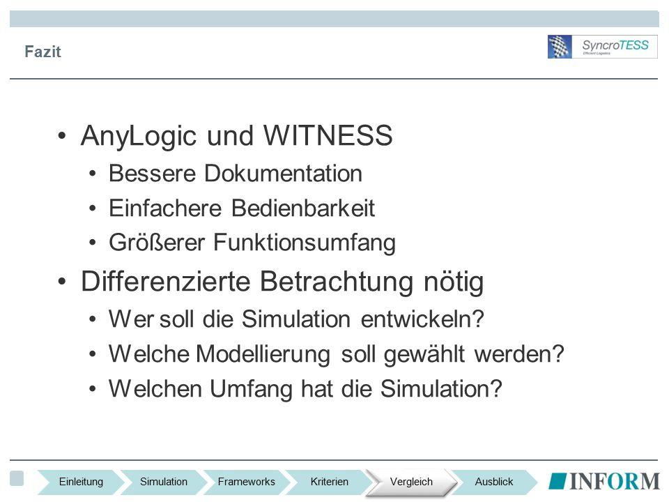 Fazit AnyLogic und WITNESS Bessere Dokumentation Einfachere Bedienbarkeit Größerer Funktionsumfang Differenzierte Betrachtung nötig Wer soll die Simulation entwickeln.