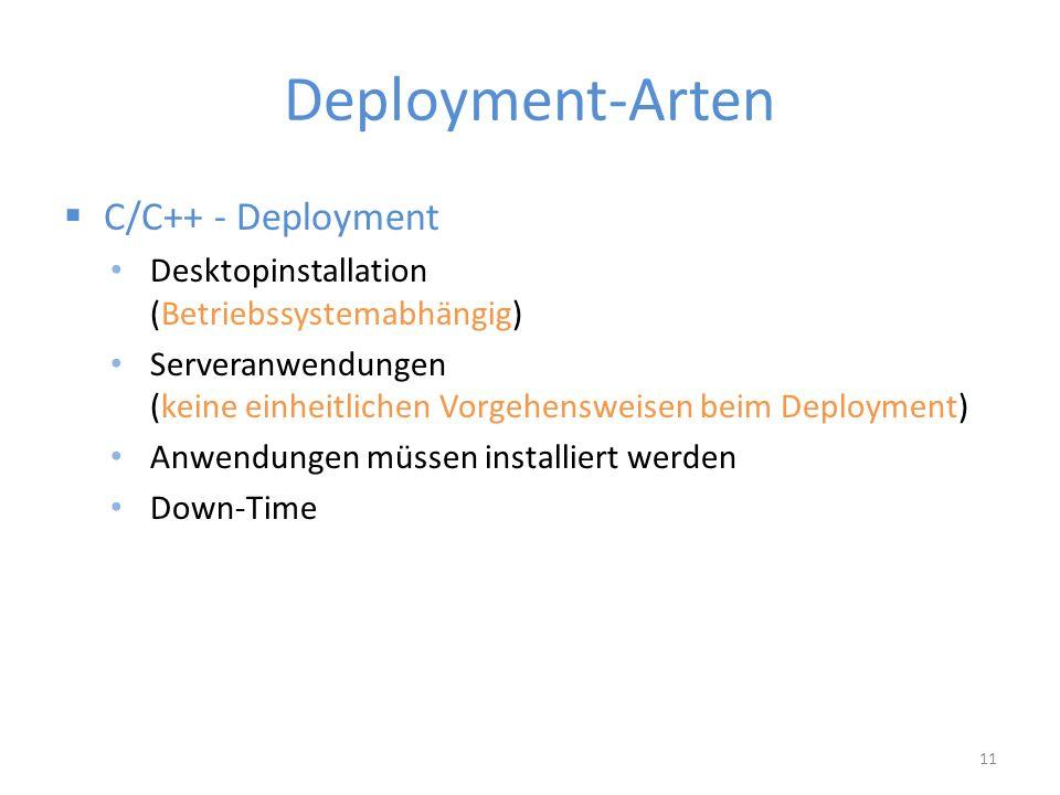 Deployment-Arten  C/C++ - Deployment Desktopinstallation (Betriebssystemabhängig) Serveranwendungen (keine einheitlichen Vorgehensweisen beim Deployment) Anwendungen müssen installiert werden Down-Time 11