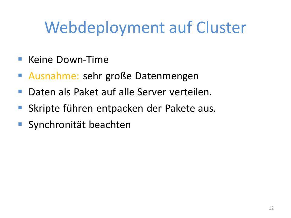 Webdeployment auf Cluster  Keine Down-Time  Ausnahme: sehr große Datenmengen  Daten als Paket auf alle Server verteilen.