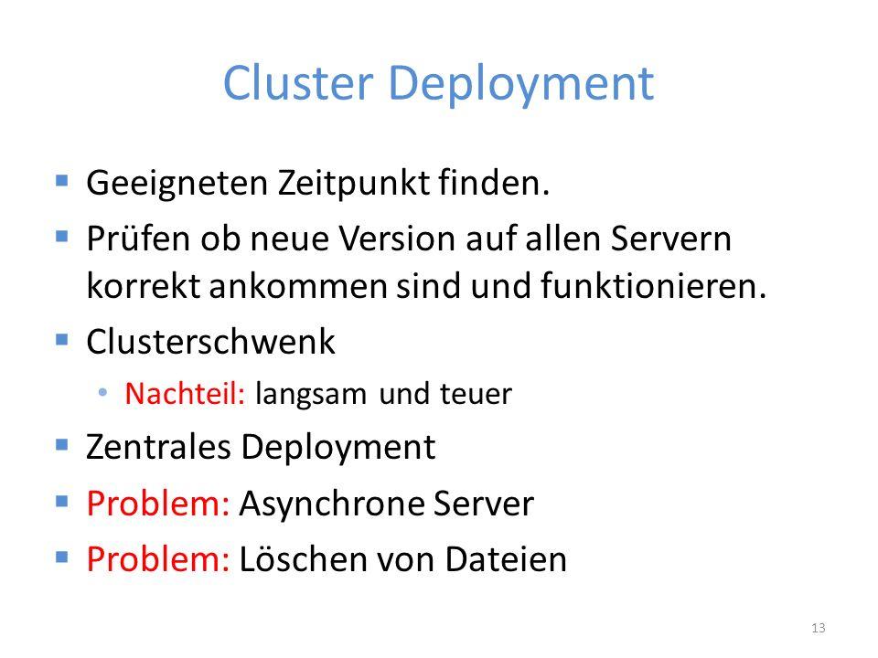 Cluster Deployment  Geeigneten Zeitpunkt finden.
