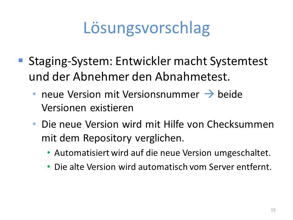 Lösungsvorschlag  Staging-System: Entwickler macht Systemtest und der Abnehmer den Abnahmetest.
