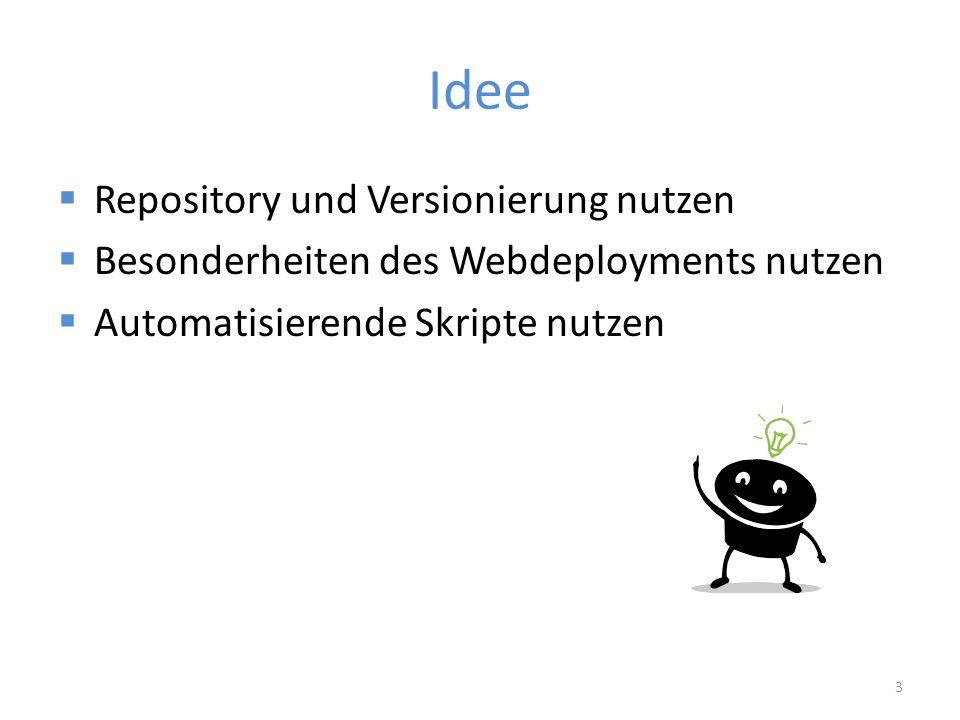 Idee  Repository und Versionierung nutzen  Besonderheiten des Webdeployments nutzen  Automatisierende Skripte nutzen 3