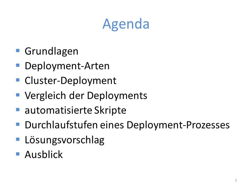 Agenda  Grundlagen  Deployment-Arten  Cluster-Deployment  Vergleich der Deployments  automatisierte Skripte  Durchlaufstufen eines Deployment-Prozesses  Lösungsvorschlag  Ausblick 5