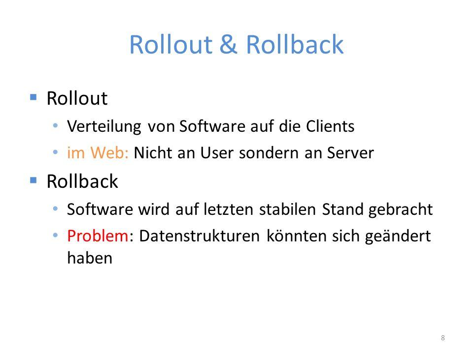 Rollout & Rollback  Rollout Verteilung von Software auf die Clients im Web: Nicht an User sondern an Server  Rollback Software wird auf letzten stabilen Stand gebracht Problem: Datenstrukturen könnten sich geändert haben 8