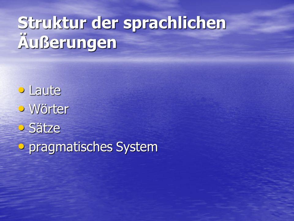 Struktur der sprachlichen Äußerungen Laute Laute Wörter Wörter Sätze Sätze pragmatisches System pragmatisches System