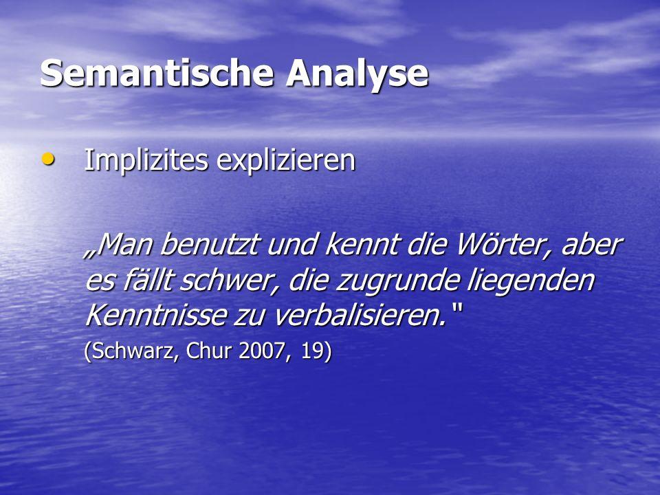 """Semantische Analyse Implizites explizieren Implizites explizieren """"Man benutzt und kennt die Wörter, aber es fällt schwer, die zugrunde liegenden Kenntnisse zu verbalisieren. (Schwarz, Chur 2007, 19)"""