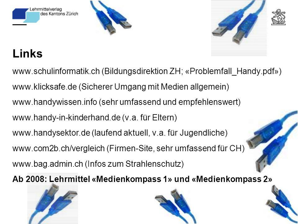 22 Links www.schulinformatik.ch (Bildungsdirektion ZH; «Problemfall_Handy.pdf») www.klicksafe.de (Sicherer Umgang mit Medien allgemein) www.handywissen.info (sehr umfassend und empfehlenswert) www.handy-in-kinderhand.de (v.a.