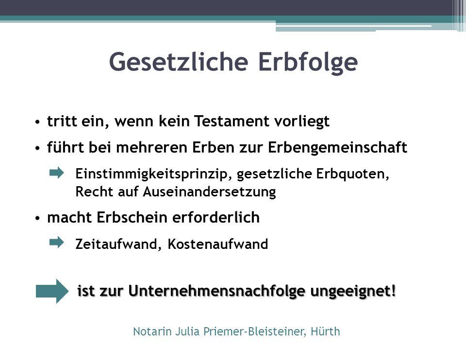 Unternehmertestament Arten:  Einzeltestament  Gemeinschaftliches Testament (nur bei Ehegatten!)  Erbvertrag Form:  privatschriftlich  notariell Notarin Julia Priemer-Bleisteiner, Hürth