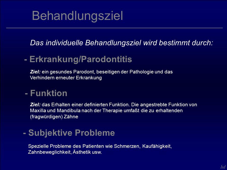 hd Spezielle Probleme des Patienten wie Schmerzen, Kaufähigkeit, Zahnbeweglichkeit, Ästhetik usw.