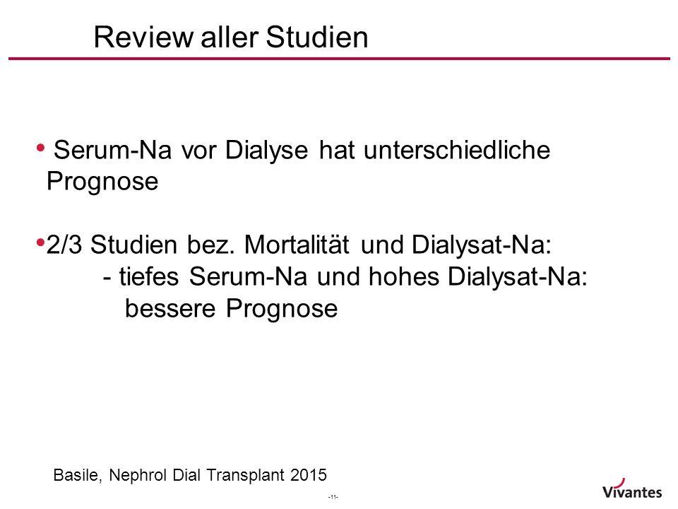 -11- Review aller Studien Basile, Nephrol Dial Transplant 2015 Serum-Na vor Dialyse hat unterschiedliche Prognose 2/3 Studien bez.