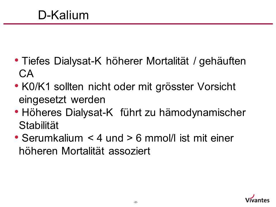 -20- D-Kalium Tiefes Dialysat-K höherer Mortalität / gehäuften CA K0/K1 sollten nicht oder mit grösster Vorsicht eingesetzt werden Höheres Dialysat-K führt zu hämodynamischer Stabilität Serumkalium 6 mmol/l ist mit einer höheren Mortalität assoziert