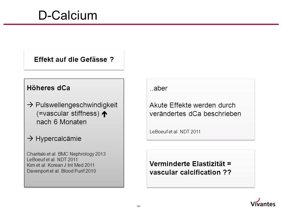 -24- Höheres dCa  Pulswellengeschwindigkeit (=vascular stiffness)  nach 6 Monaten  Hypercalcämie Charitaki et al. BMC Nephrology 2013 LeBoeuf et al