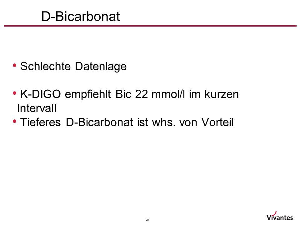 -29- D-Bicarbonat Schlechte Datenlage K-DIGO empfiehlt Bic 22 mmol/l im kurzen Intervall Tieferes D-Bicarbonat ist whs.