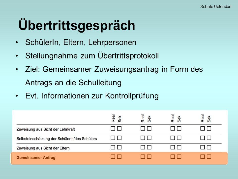 Übertrittsgespräch SchülerIn, Eltern, Lehrpersonen Stellungnahme zum Übertrittsprotokoll Ziel: Gemeinsamer Zuweisungsantrag in Form des Antrags an die Schulleitung Evt.