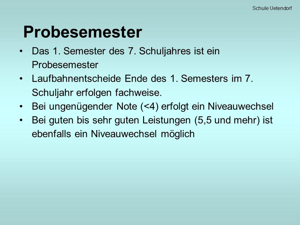 Schule Uetendorf Probesemester Das 1. Semester des 7.