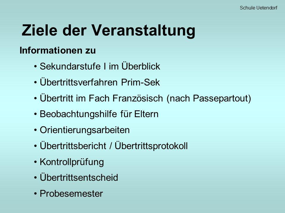 Schule Uetendorf Sekundarstufe I im Überblick 7.bis 9.