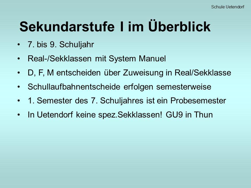 Schule Uetendorf Sekundarstufe I im Überblick 7. bis 9.