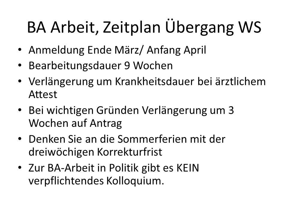 BA Arbeit, Zeitplan Übergang WS Anmeldung Ende März/ Anfang April Bearbeitungsdauer 9 Wochen Verlängerung um Krankheitsdauer bei ärztlichem Attest Bei