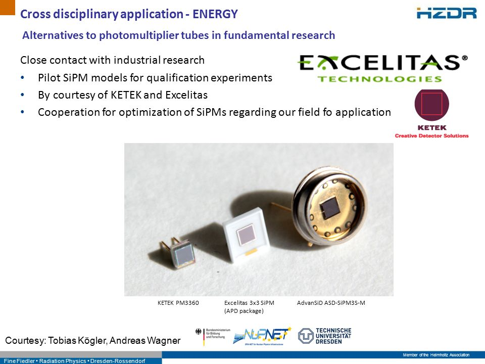 Member of the Helmholtz Association Fine Fiedler Radiation Physics Dresden-Rossendorf Cross disciplinary application - ENERGY Alternatives to photomultiplier tubes in fundamental research Close contact with industrial research Pilot SiPM models for qualification experiments By courtesy of KETEK and Excelitas Cooperation for optimization of SiPMs regarding our field fo application KETEK PM3360Excelitas 3x3 SiPM (APD package) AdvanSiD ASD-SiPM3S-M Courtesy: Tobias Kögler, Andreas Wagner