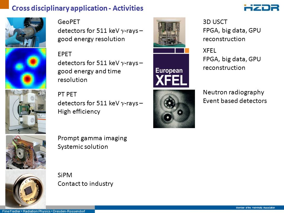Member of the Helmholtz Association Fine Fiedler Radiation Physics Dresden-Rossendorf Cross disciplinary application - Activities Prompt gamma imaging Systemic solution GeoPET detectors for 511 keV  -rays – good energy resolution EPET detectors for 511 keV  -rays – good energy and time resolution PT PET detectors for 511 keV  -rays – High efficiency SiPM Contact to industry 3D USCT FPGA, big data, GPU reconstruction XFEL FPGA, big data, GPU reconstruction Neutron radiography Event based detectors