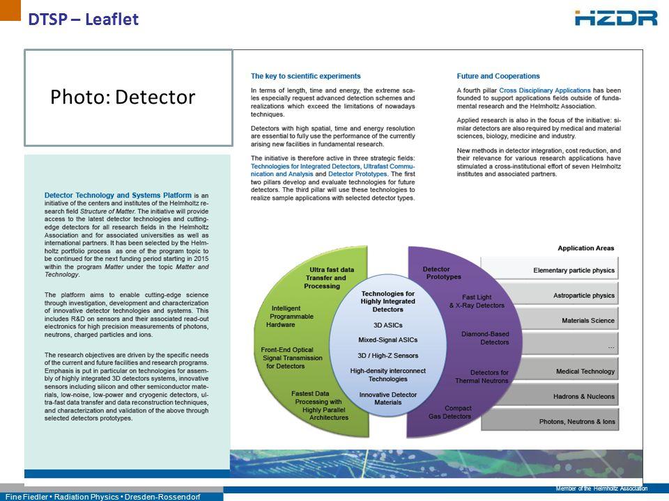 Member of the Helmholtz Association Fine Fiedler Radiation Physics Dresden-Rossendorf DTSP – Leaflet Photo: Detector