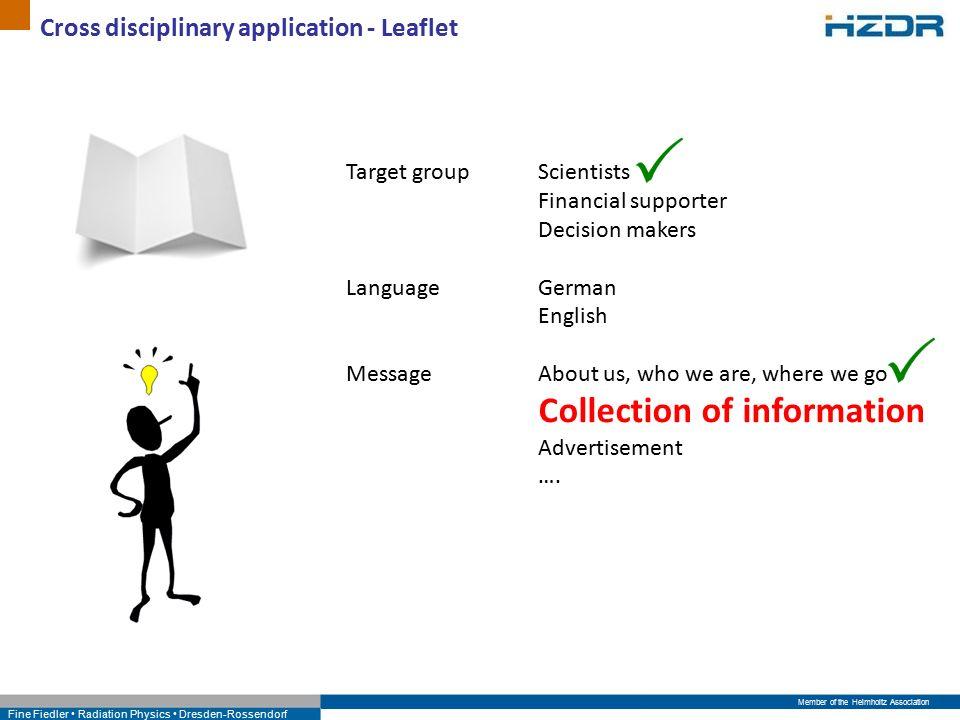 Member of the Helmholtz Association Fine Fiedler Radiation Physics Dresden-Rossendorf Cross disciplinary application - Leaflet Welche Zielgruppe wollen wir mit den Leaflets erreichen.