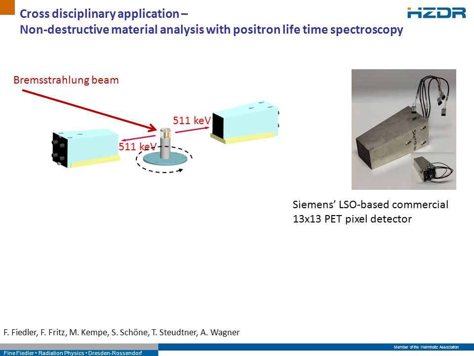 Member of the Helmholtz Association Fine Fiedler Radiation Physics Dresden-Rossendorf Cross disciplinary application – Non-destructive material analysis with positron life time spectroscopy Siemens' LSO-based commercial 13x13 PET pixel detector F.