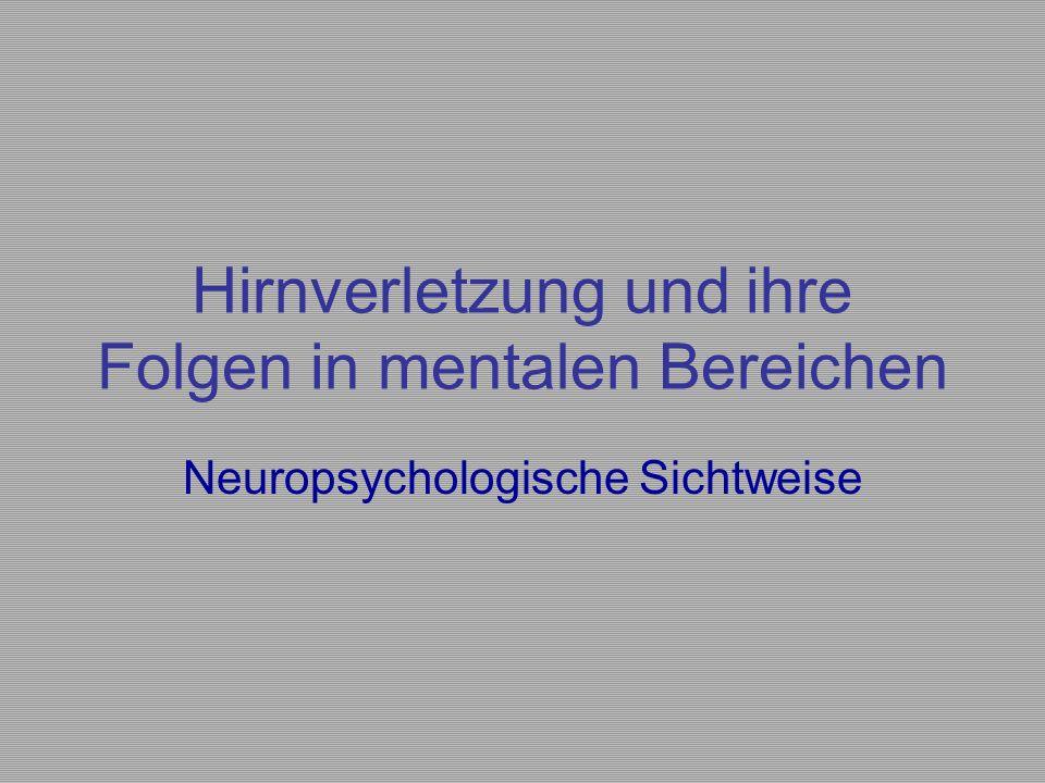 Hirnverletzung und ihre Folgen in mentalen Bereichen Neuropsychologische Sichtweise