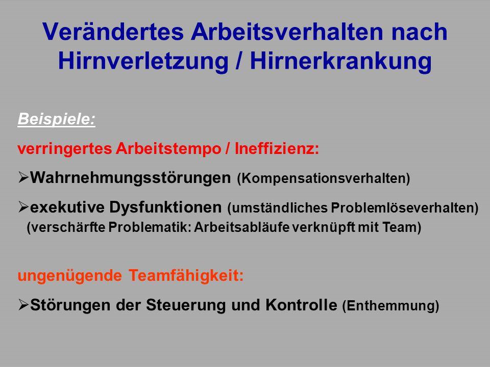 Verändertes Arbeitsverhalten nach Hirnverletzung / Hirnerkrankung Beispiele: verringertes Arbeitstempo / Ineffizienz:  Wahrnehmungsstörungen (Kompens