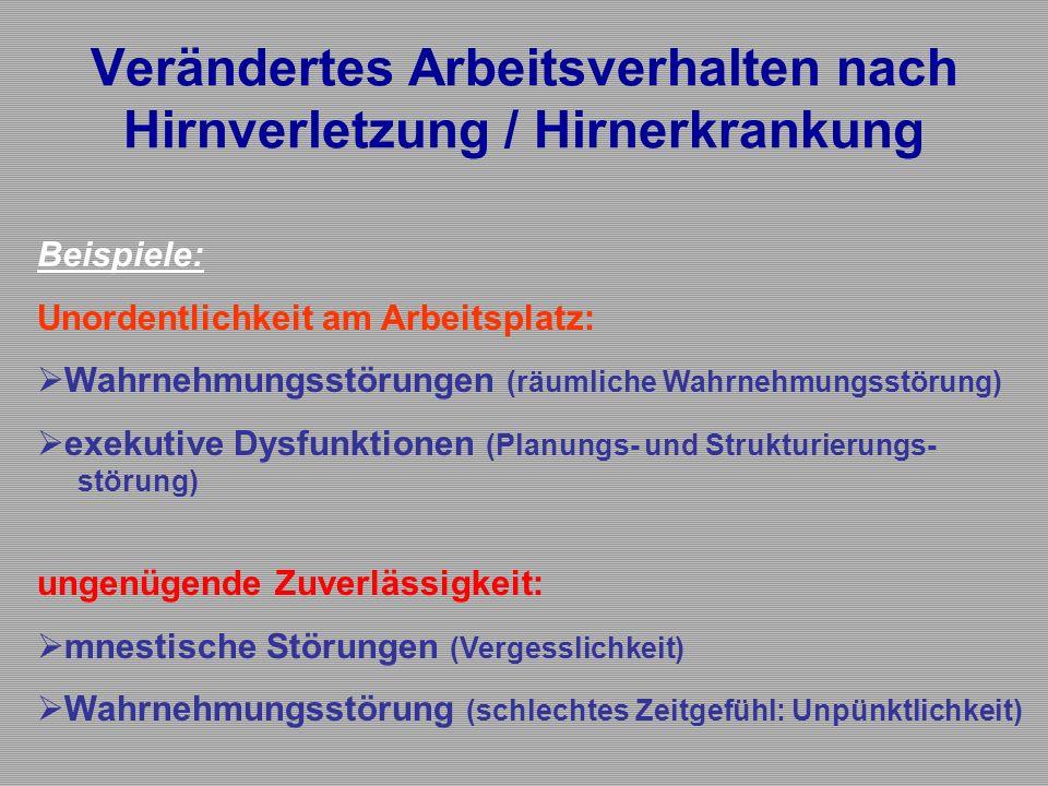 Verändertes Arbeitsverhalten nach Hirnverletzung / Hirnerkrankung Beispiele: Unordentlichkeit am Arbeitsplatz:  Wahrnehmungsstörungen (räumliche Wahr