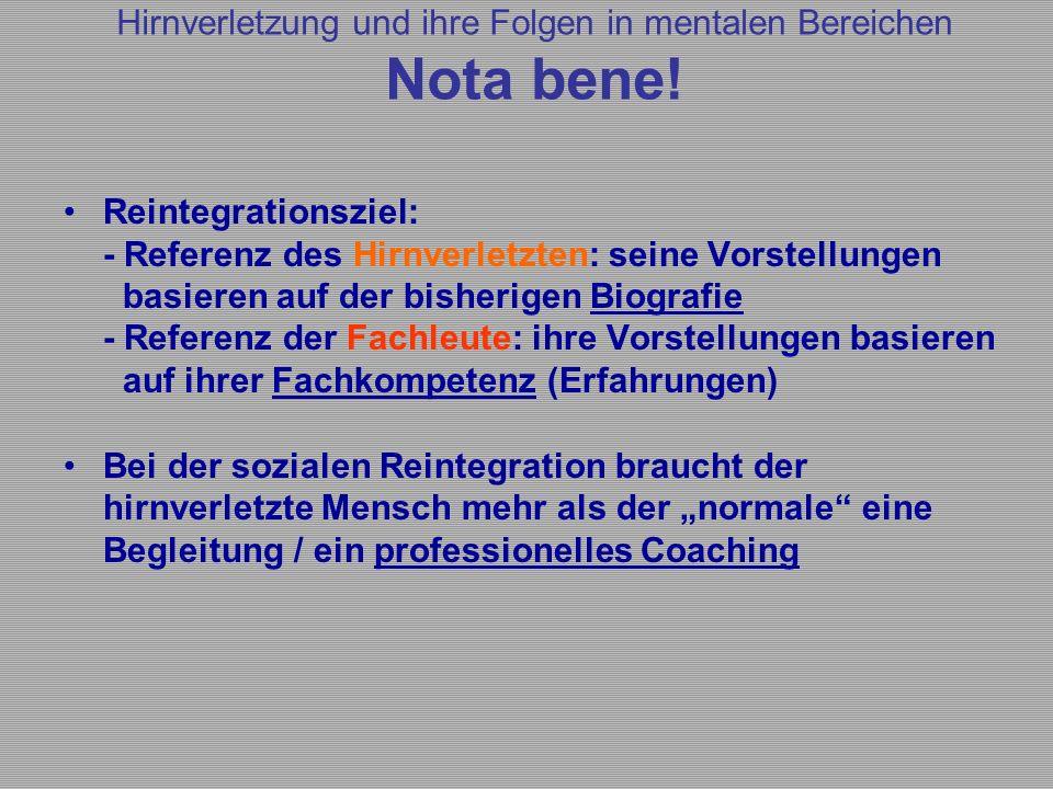 Reintegrationsziel: - Referenz des Hirnverletzten: seine Vorstellungen basieren auf der bisherigen Biografie - Referenz der Fachleute: ihre Vorstellun