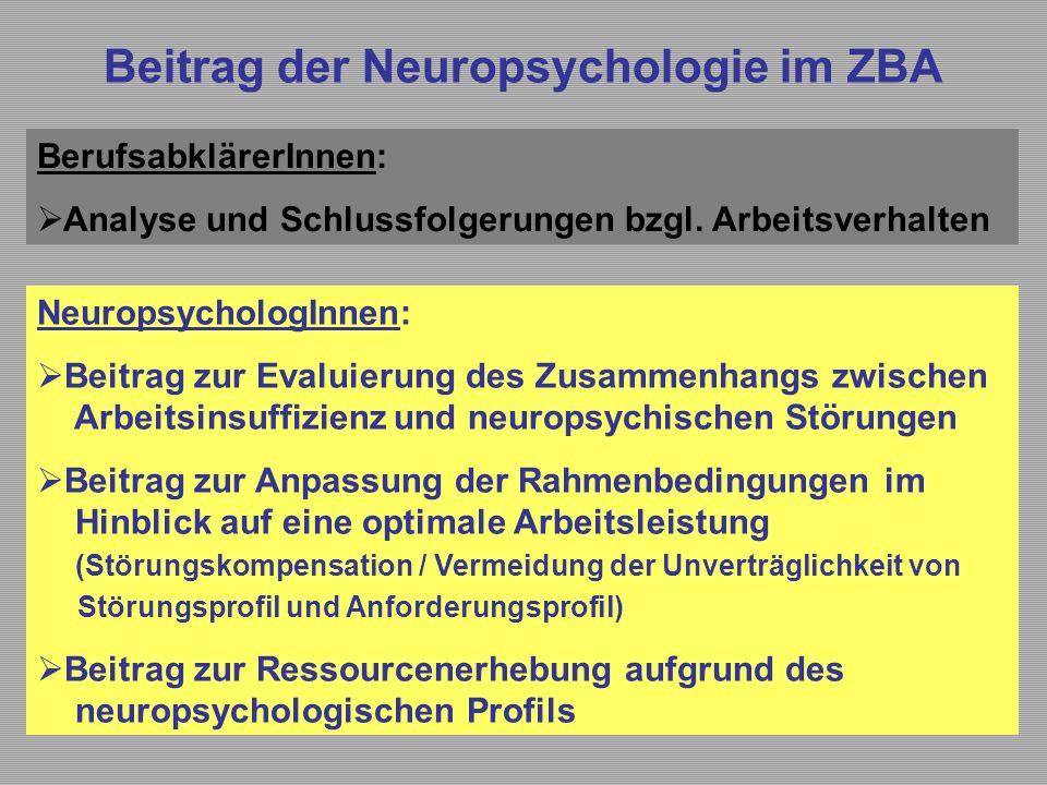 Beitrag der Neuropsychologie im ZBA BerufsabklärerInnen:  Analyse und Schlussfolgerungen bzgl. Arbeitsverhalten NeuropsychologInnen:  Beitrag zur Ev