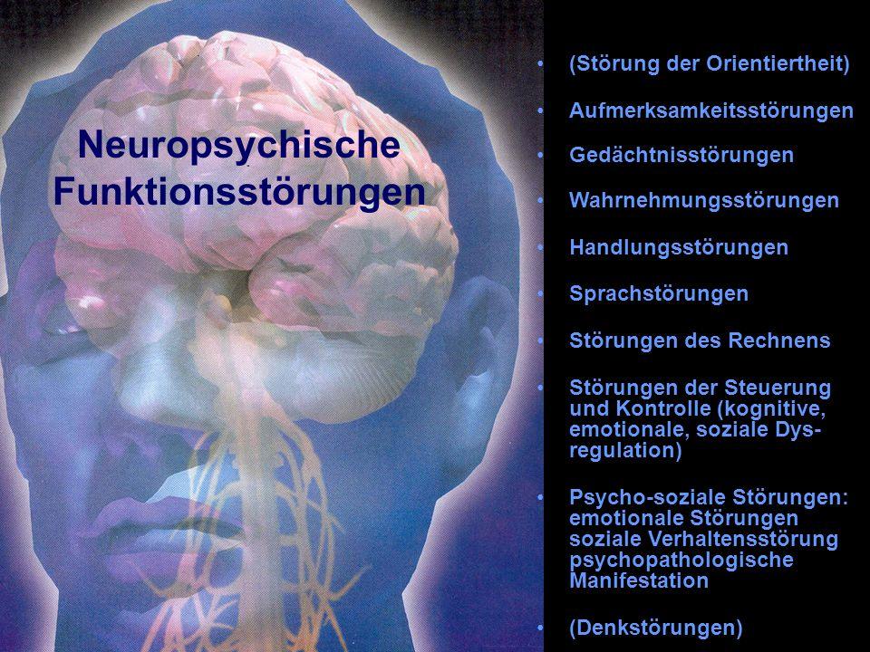 Neuropsychische Funktionsstörungen (Störung der Orientiertheit) Aufmerksamkeitsstörungen Gedächtnisstörungen Wahrnehmungsstörungen Handlungsstörungen