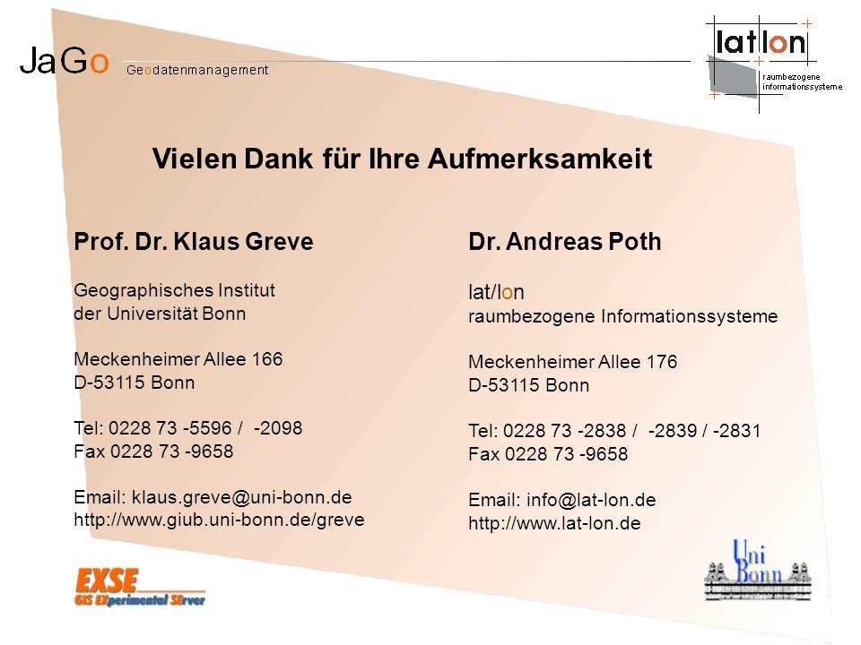 Prof. Dr. Klaus Greve Geographisches Institut der Universität Bonn Meckenheimer Allee 166 D-53115 Bonn Tel: 0228 73 -5596 / -2098 Fax 0228 73 -9658 Em