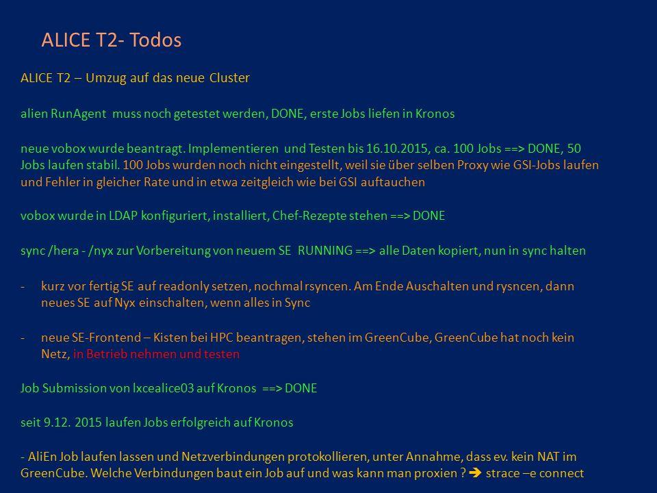 ALICE T2- Todos ALICE T2 – Umzug auf das neue Cluster alien RunAgent muss noch getestet werden, DONE, erste Jobs liefen in Kronos neue vobox wurde beantragt.