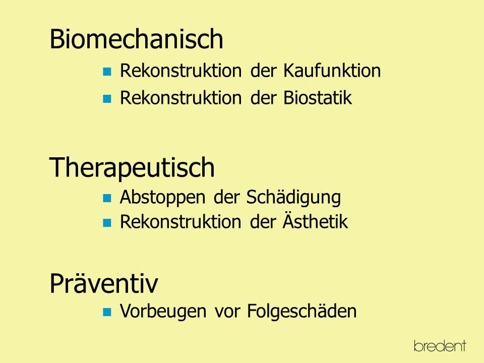 Biomechanisch Rekonstruktion der Kaufunktion Rekonstruktion der Biostatik Therapeutisch Abstoppen der Schädigung Rekonstruktion der Ästhetik Präventiv Vorbeugen vor Folgeschäden
