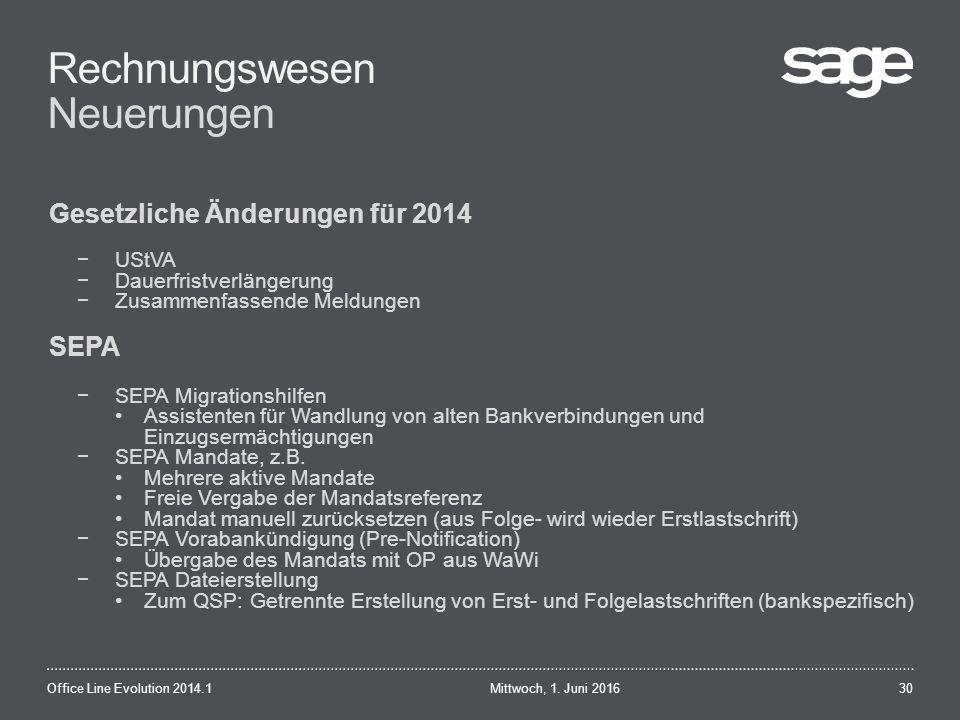 Rechnungswesen Neuerungen Mittwoch, 1.