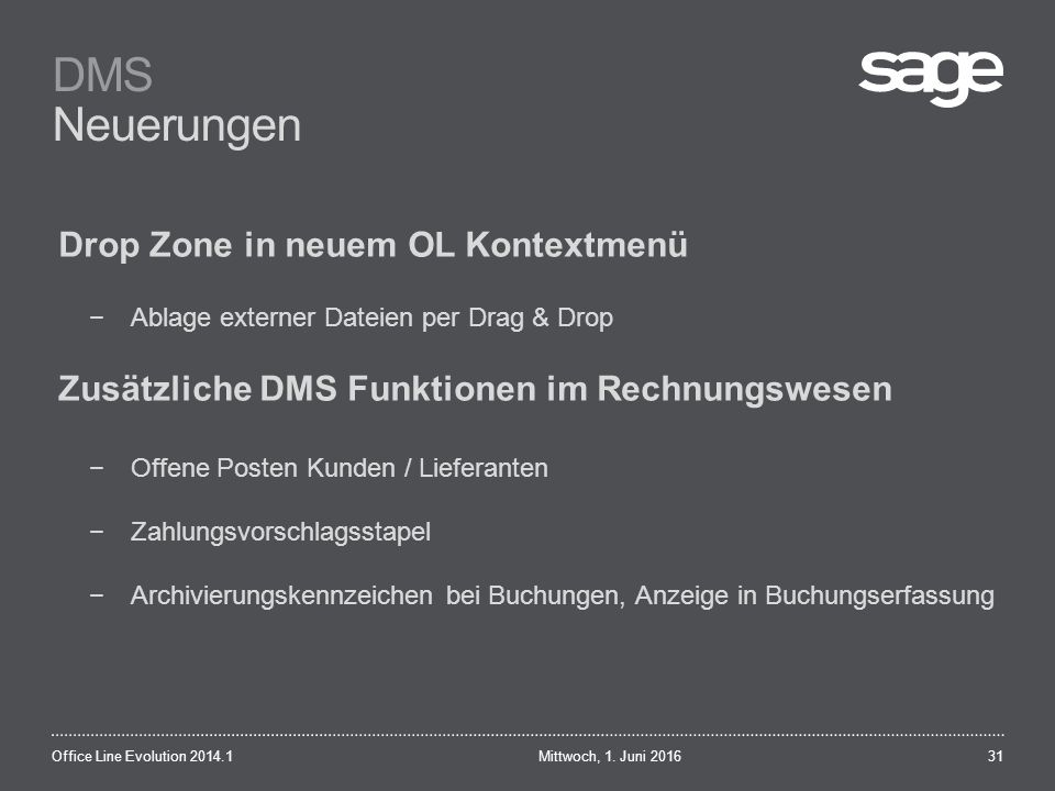 DMS Neuerungen Mittwoch, 1.