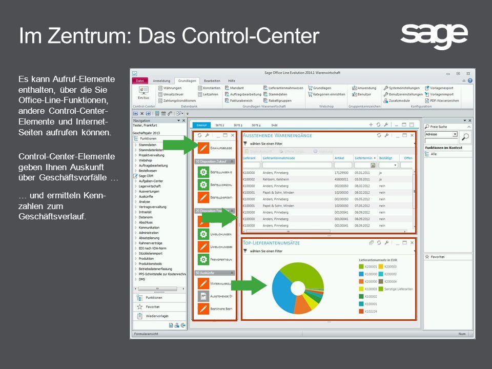 Im Zentrum: Das Control-Center Es kann Aufruf-Elemente enthalten, über die Sie Office-Line-Funktionen, andere Control-Center- Elemente und Internet- Seiten aufrufen können.