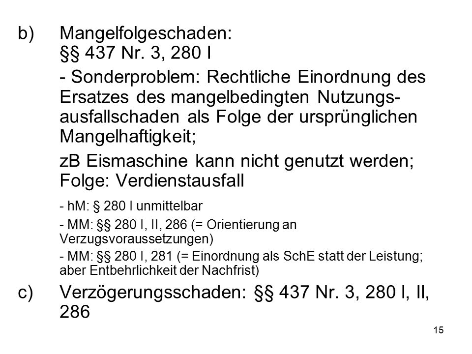 15 b)Mangelfolgeschaden: §§ 437 Nr. 3, 280 I - Sonderproblem: Rechtliche Einordnung des Ersatzes des mangelbedingten Nutzungs- ausfallschaden als Folg