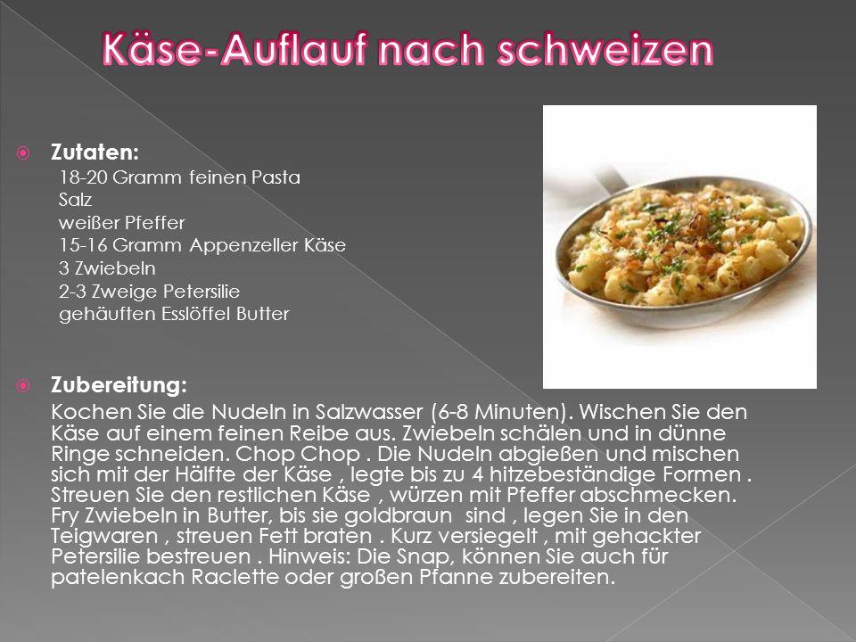  Zutaten: 18-20 Gramm feinen Pasta Salz weißer Pfeffer 15-16 Gramm Appenzeller Käse 3 Zwiebeln 2-3 Zweige Petersilie gehäuften Esslöffel Butter  Zubereitung: Kochen Sie die Nudeln in Salzwasser (6-8 Minuten).