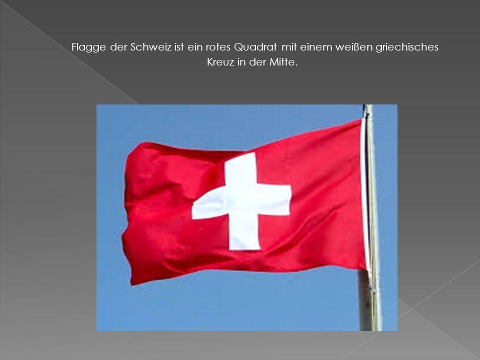 Flagge der Schweiz ist ein rotes Quadrat mit einem weißen griechisches Kreuz in der Mitte.