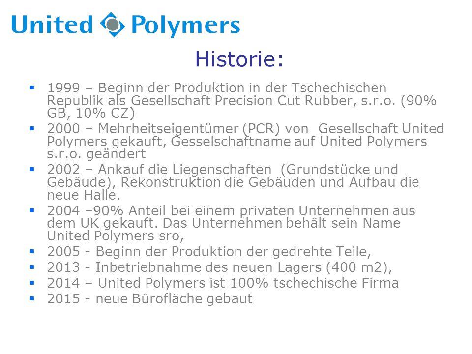 Historie:  1999 – Beginn der Produktion in der Tschechischen Republik als Gesellschaft Precision Cut Rubber, s.r.o.
