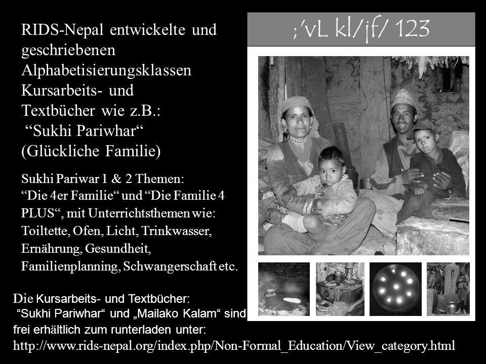 """RIDS-Nepal entwickelte und geschriebenen Alphabetisierungsklassen Kursarbeits- und Textbücher wie z.B.: """"Sukhi Pariwhar"""" (Glückliche Familie) Sukhi Pa"""