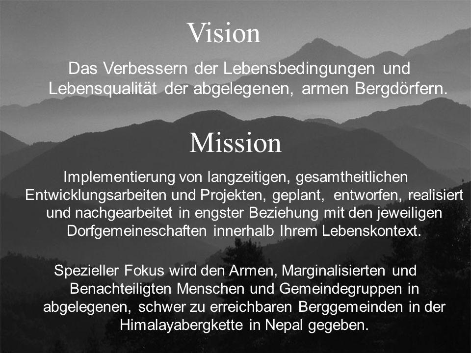 Vision Implementierung von langzeitigen, gesamtheitlichen Entwicklungsarbeiten und Projekten, geplant, entworfen, realisiert und nachgearbeitet in engster Beziehung mit den jeweiligen Dorfgemeineschaften innerhalb Ihrem Lebenskontext.