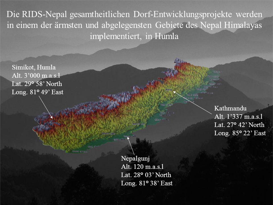 Kathmandu Alt. 1'337 m.a.s.l Lat. 27° 42' North Long. 85° 22' East Nepalgunj Alt. 120 m.a.s.l Lat. 28° 03' North Long. 81° 38' East Simikot, Humla Alt