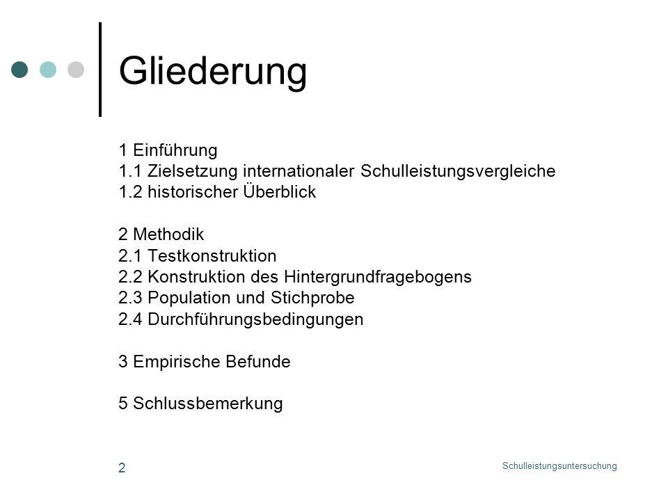 Schulleistungsuntersuchung 2 Gliederung 1 Einführung 1.1 Zielsetzung internationaler Schulleistungsvergleiche 1.2 historischer Überblick 2 Methodik 2.1 Testkonstruktion 2.2 Konstruktion des Hintergrundfragebogens 2.3 Population und Stichprobe 2.4 Durchführungsbedingungen 3 Empirische Befunde 5 Schlussbemerkung