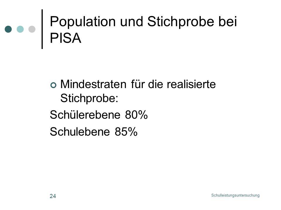 Schulleistungsuntersuchung 24 Population und Stichprobe bei PISA Mindestraten für die realisierte Stichprobe: Schülerebene 80% Schulebene 85%