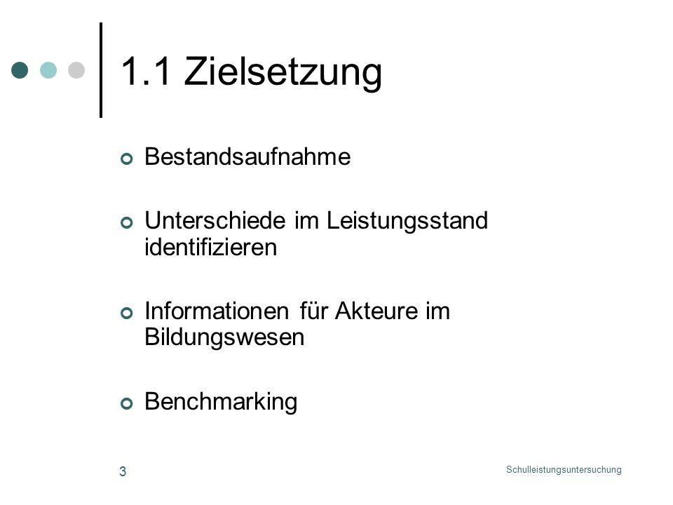 Schulleistungsuntersuchung 3 1.1 Zielsetzung Bestandsaufnahme Unterschiede im Leistungsstand identifizieren Informationen für Akteure im Bildungswesen Benchmarking